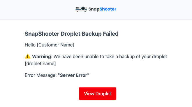 SnapShooter Backup Error example email